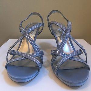 Nina Soft Blue Rhinestone Heels